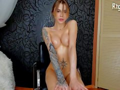 super hot russian tranny babe strip teasing on webcam