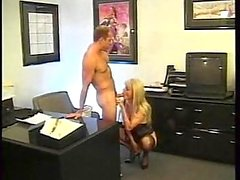 Office sex with blonde tranny