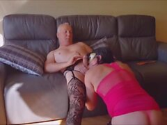 Two older crossdressers suck each other