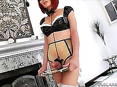 Tgirl Danni with her sex slave Eva Lin