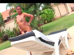 Latina shemale sucks a cock at pool