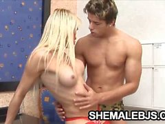 Blonde shemale Shakira Maya is excited on this hard dick