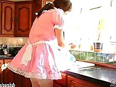 Cute crossdresser sluts dress up as Maids and have blowjob party