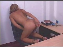 Tied tranny office masturbation