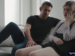 Slim blonde ts Ella Hollywood ts ass bounces on Dantes bigcock